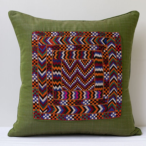 Green hand woven silk/cotton and hand embroidered panel cushion 2
