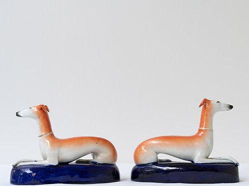 Pair decorative hand painted greyhound pen holders/ inkwells