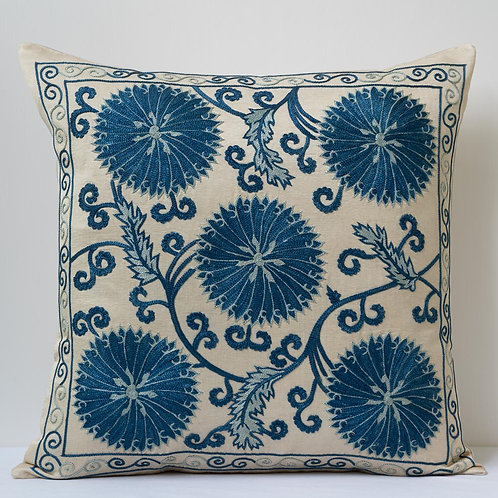 "Approx. 50cm/ 20"" square silk hand embroidered cushion"