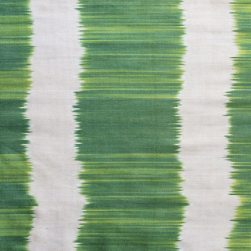Emerald green cream wiggly wide stripe ikat