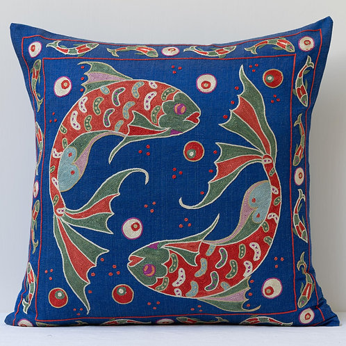 "Approx. 50cm/ 20"" square cushion - royal blue silk hand embroidered Koi carp"
