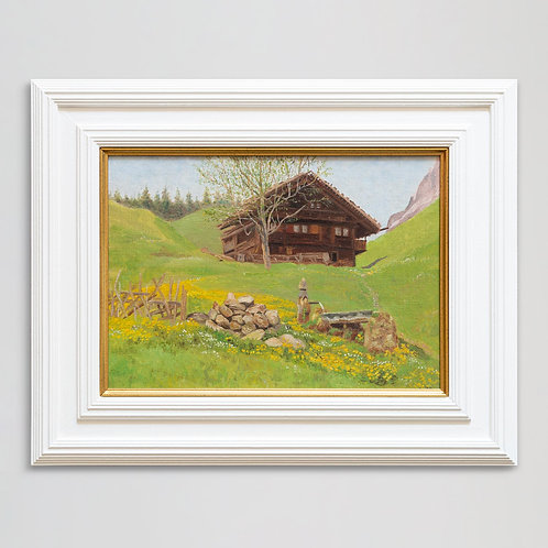 Framed oil painting of chalet in spring