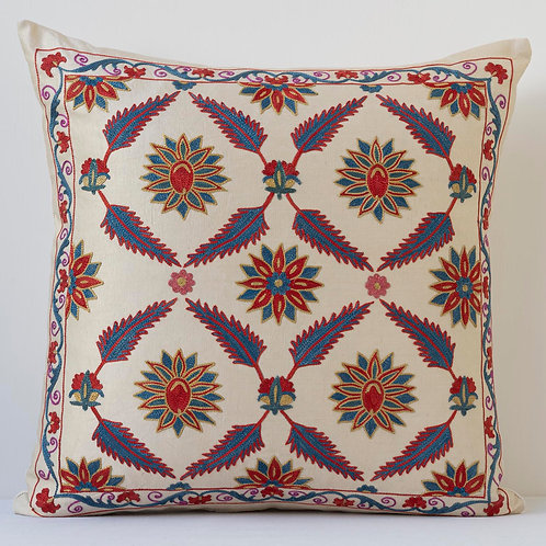 "Approx. 50cm/ 20"" square cushion - silk hand embroidered Ottoman floral trellis"