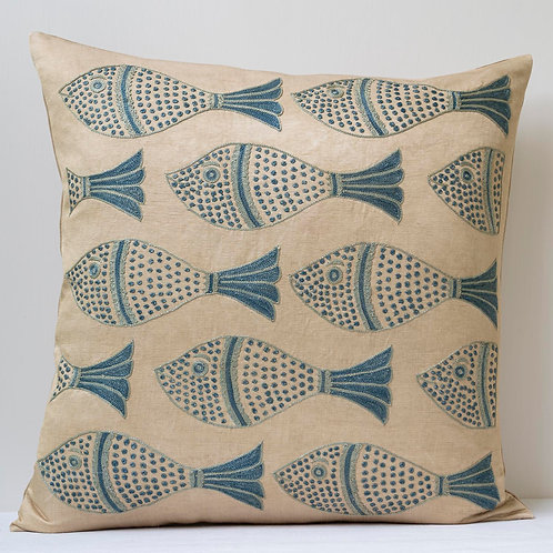 """Approx. 50cm/ 20"""" square cushion - silk hand embroidered fish motifs 35"""