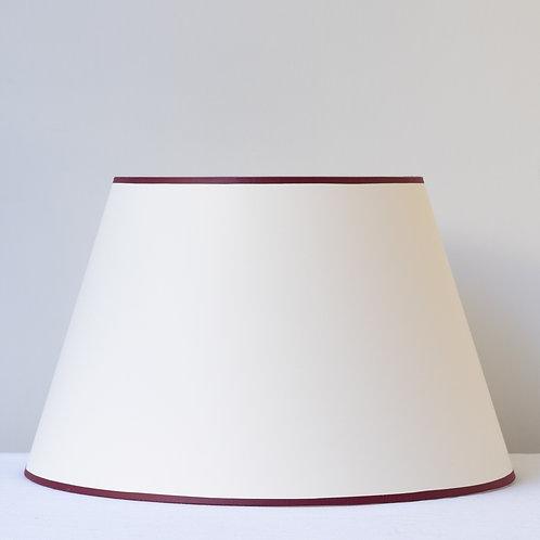 "16""/41cm base cream Empire card shade with burgundy trim"