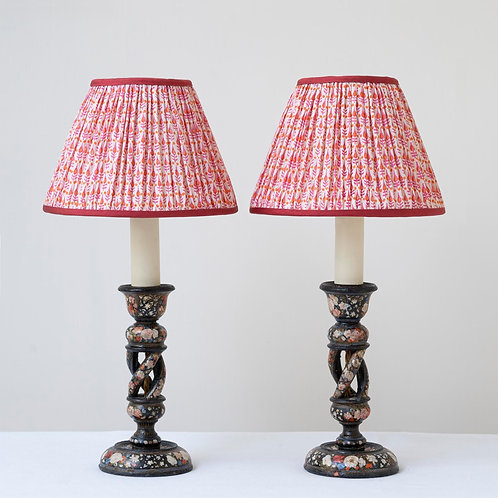 Pair hand painted wooden lamps and archive print silk shades
