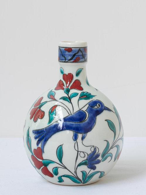 Highly decorative Iznik inspired ceramic vase with bird