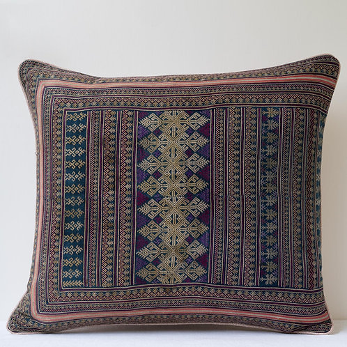 Large rectangular antique Indochine embroidery/ Veere Grenney linen cushion A