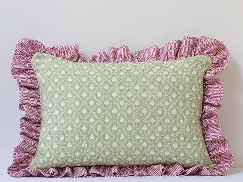 Rectangular cushion in Apple Green Grenadine and Rose Pink Imani frill