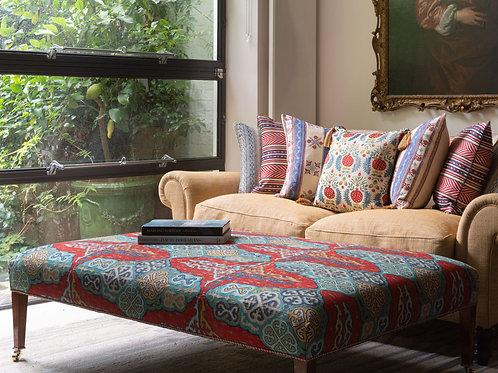 Large ottoman in Susan's Kirghiz weave fabric