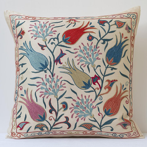 """Approx. 50cm/ 20"""" square cushion - silk hand embroidered Ottoman tulip m"""