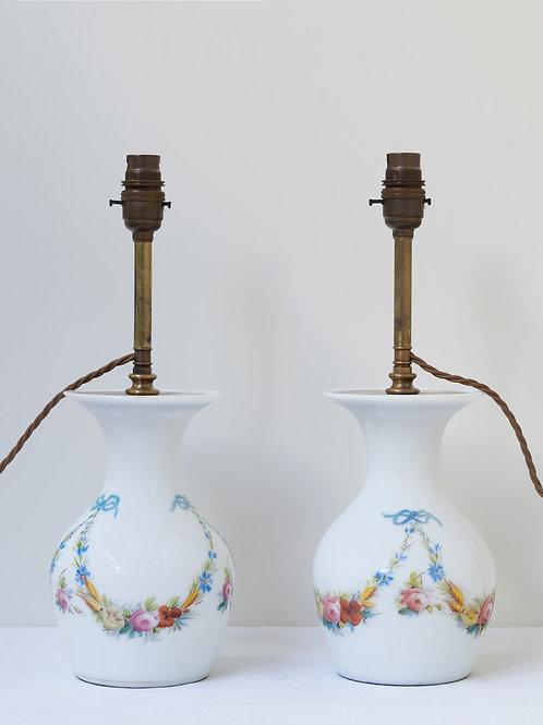 Pair hand painted 19th century French opaline lamps (price is for the pair)