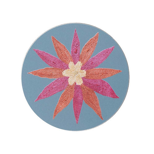 6 Daisy and garland coasters in light blue (price is for the set)