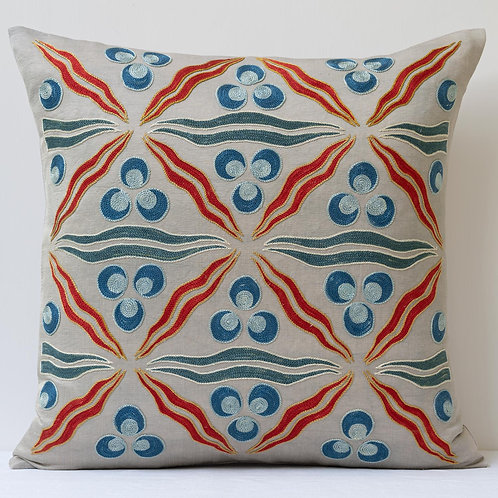 "Approx. 50cm/ 20"" square cushion - grey silk hand embroidered Ottoman Cintama"