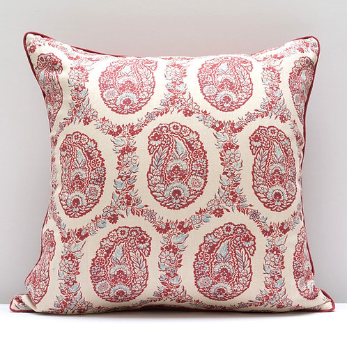 "Hand printed ""Padishah"" and antique hemp cushion"