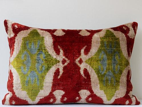 Sumptous rectangular silk velvet/silk taffeta cushion