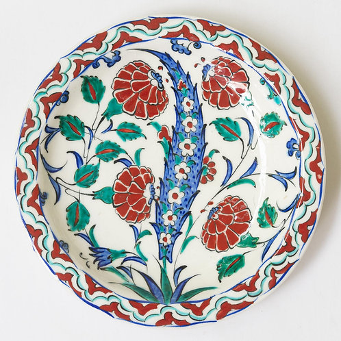 Highly decorative reproduction 16th century fluted Iznik plate no. 1