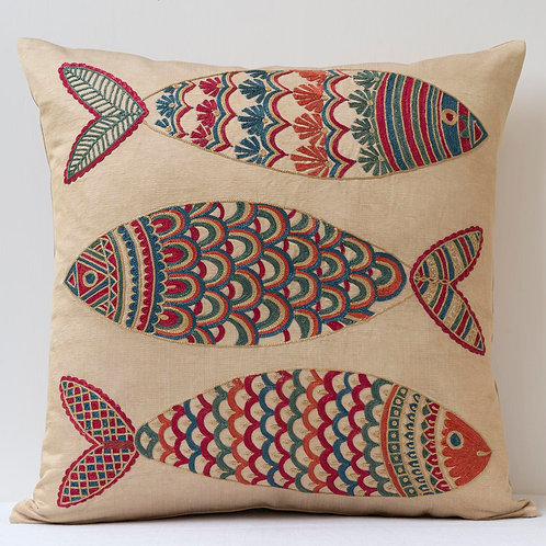 """(F7) Approx. 50cm/ 20"""" square cushion - silk hand embroidered fish m"""