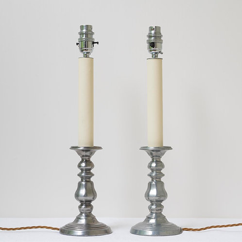 Pair pewter candlestick lamps