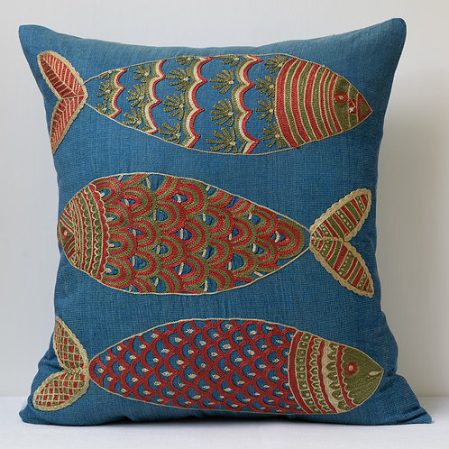 """Approx. 50cm/ 20"""" square cushion - silk hand embroidered fish motifs 22"""