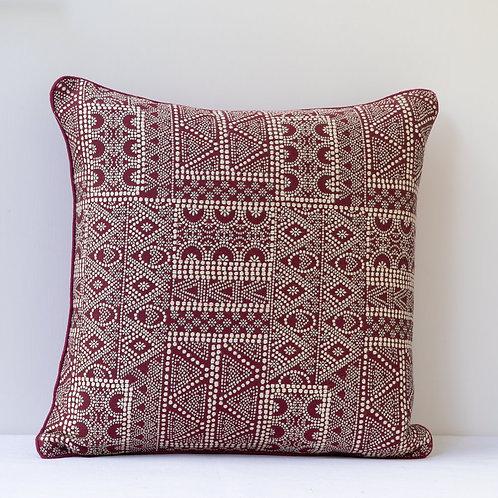 "16""/40cm Susan Deliss Batik fabric in ""Garnet"" with antique backing"