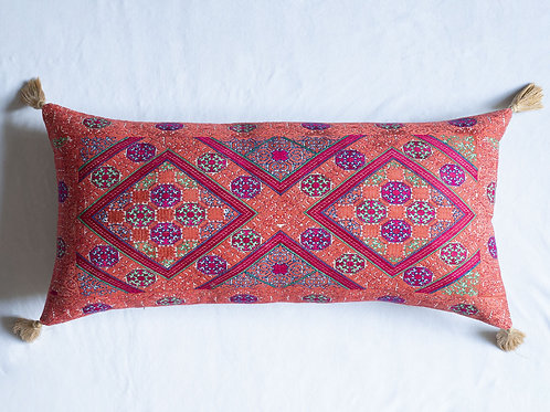 Extra large bolster cushion with antique silk embroidery 6