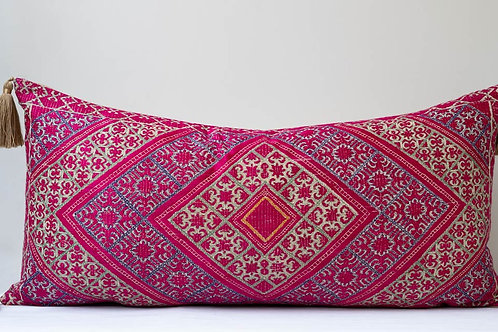 Extra large bolster cushion with antique silk embroidery
