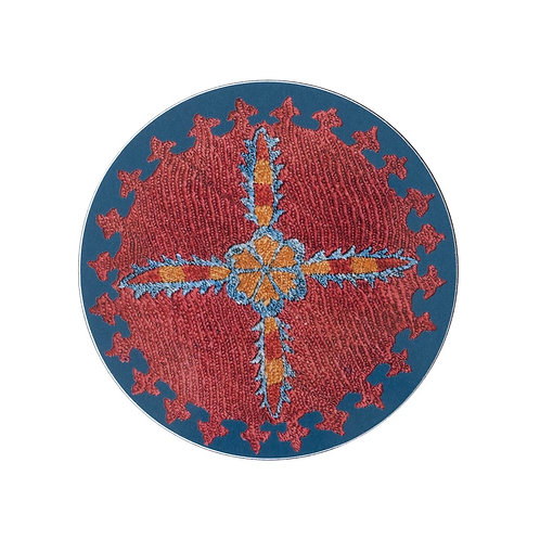 6 Star and sprig coasters in teal (price is for the set) TO ORDER
