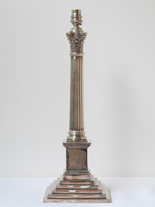 Antique silvered metal lamp base