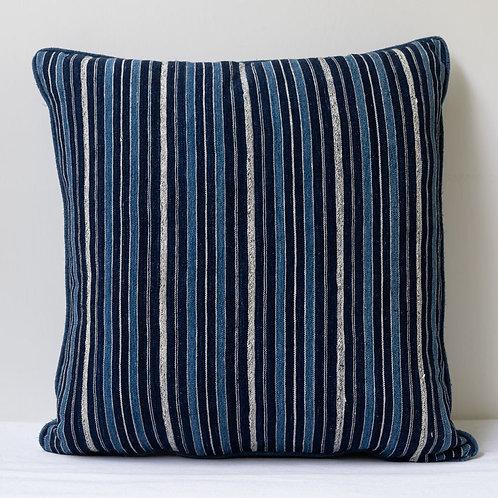 Square indigo antique textile cushion