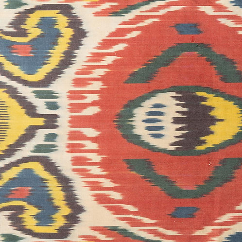 Classic red teal yellow cream ikat