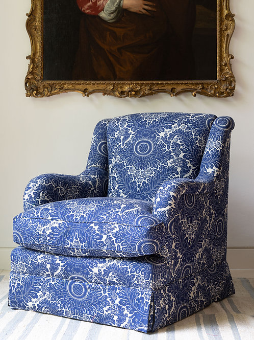 Single armchair in archive screen printed navy/ white linen