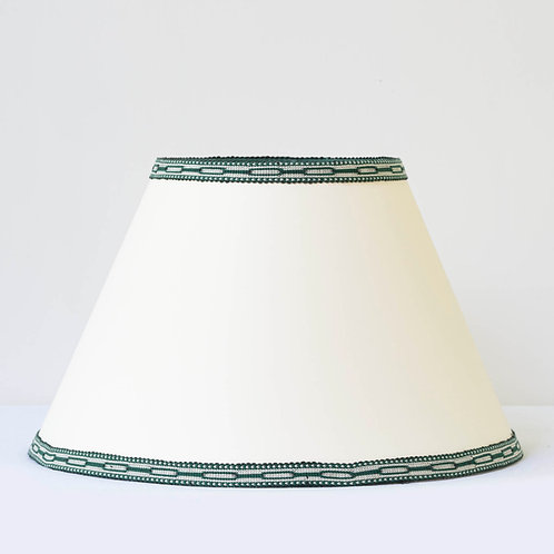 """C1 14"""" / 36cm base cream card shade with hand woven green ivory trim"""