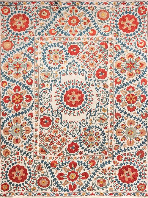 Silk hand embroidered floral and diamond suzani (GA)