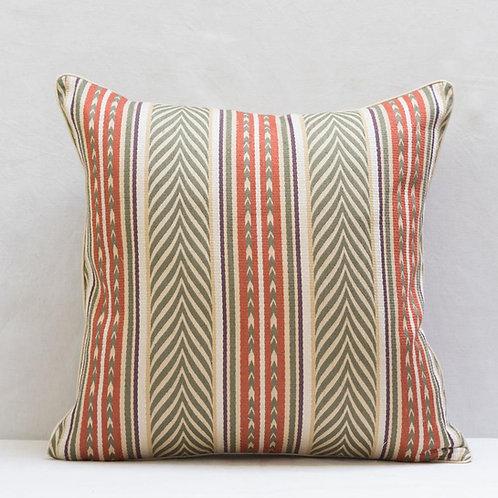 """50cm/ 18"""" Olive copper cream Aztec fabric cushion"""