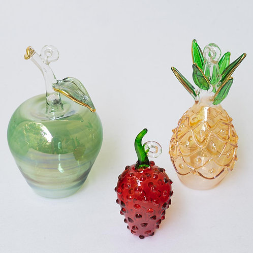 Mixed set of 3 fruit Christmas baubles