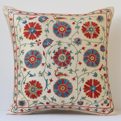 """Approx. 50cm/ 20"""" square cushion - silk hand embroidered blue Ottoman m"""