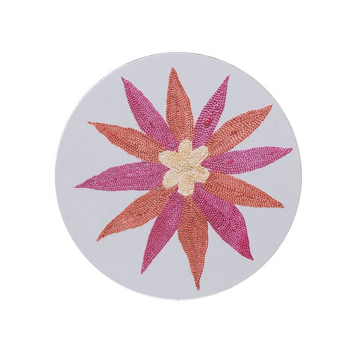 6 Daisy and garland coasters in cream (price is for the set)