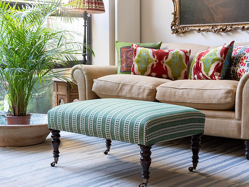 Ottoman in Susan Deliss's Patmos fabric in Hedge Green