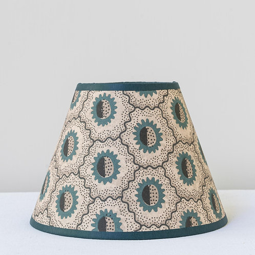 "6"" (15cm) base small card shade with teal trim"