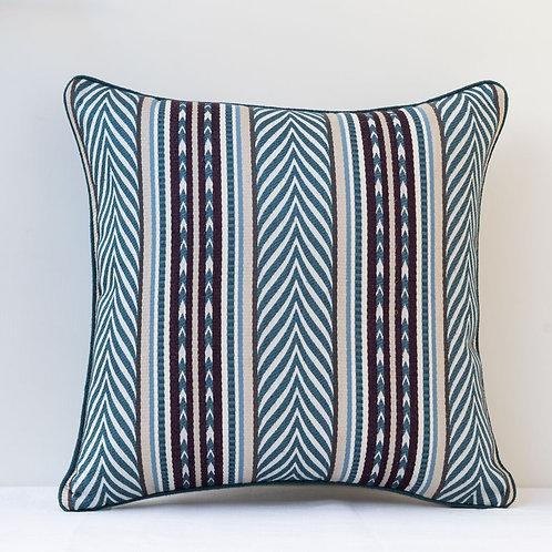 """20"""" / 50cm square Blue cream aubergine Aztec fabric cushion"""