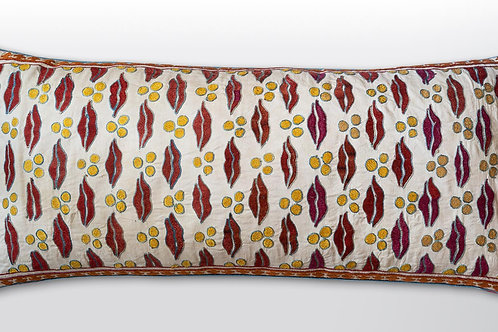 Large rectangular silk embroidered/ Claremont fabric cushion