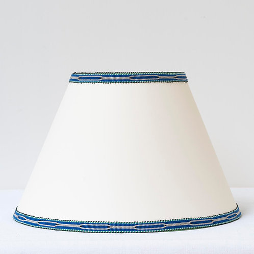 "12"" (30cm) base cream card shade with hand woven blue green trim"