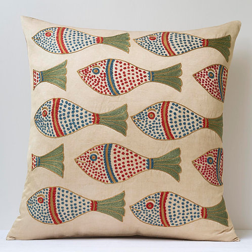 "Approx. 50cm/ 20"" square cushion - silk hand embroidered fish motifs 34"
