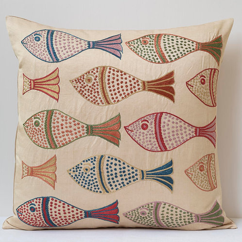 """(A20) Approx. 50cm/ 20"""" square cushion - silk hand embroidered fish m"""
