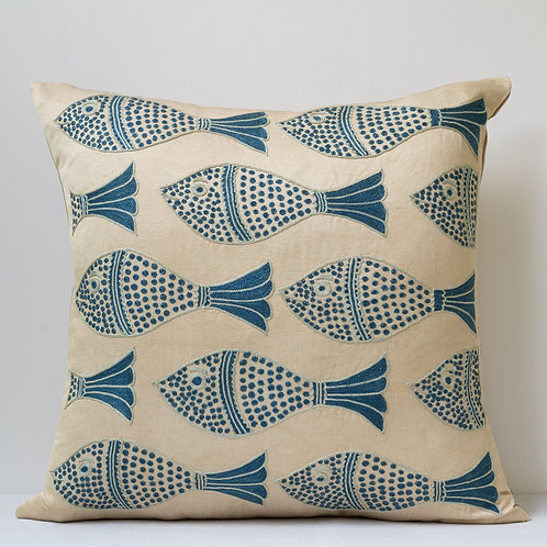 """Approx. 50cm/ 20"""" square cushion - silk hand embroidered fish motifs 15"""