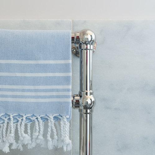Set of 3 medium hand woven dark blue/white cotton hammam towels