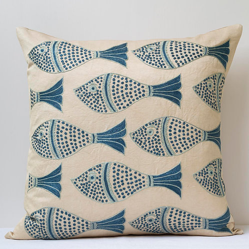 "Approx. 50cm/ 20"" square cushion - silk hand embroidered fish motifs 1"