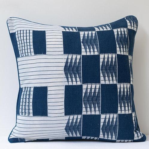"(D) 18""/ 46cm square patchwork hand woven cloth/ antique back cushion A"