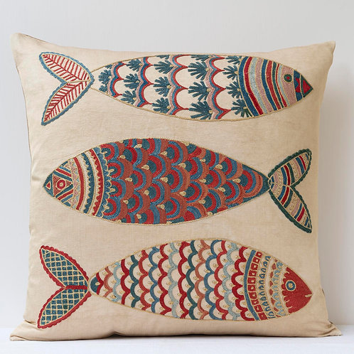 "(F21) Approx. 50cm/ 20"" square cushion - silk hand embroidered fish m"